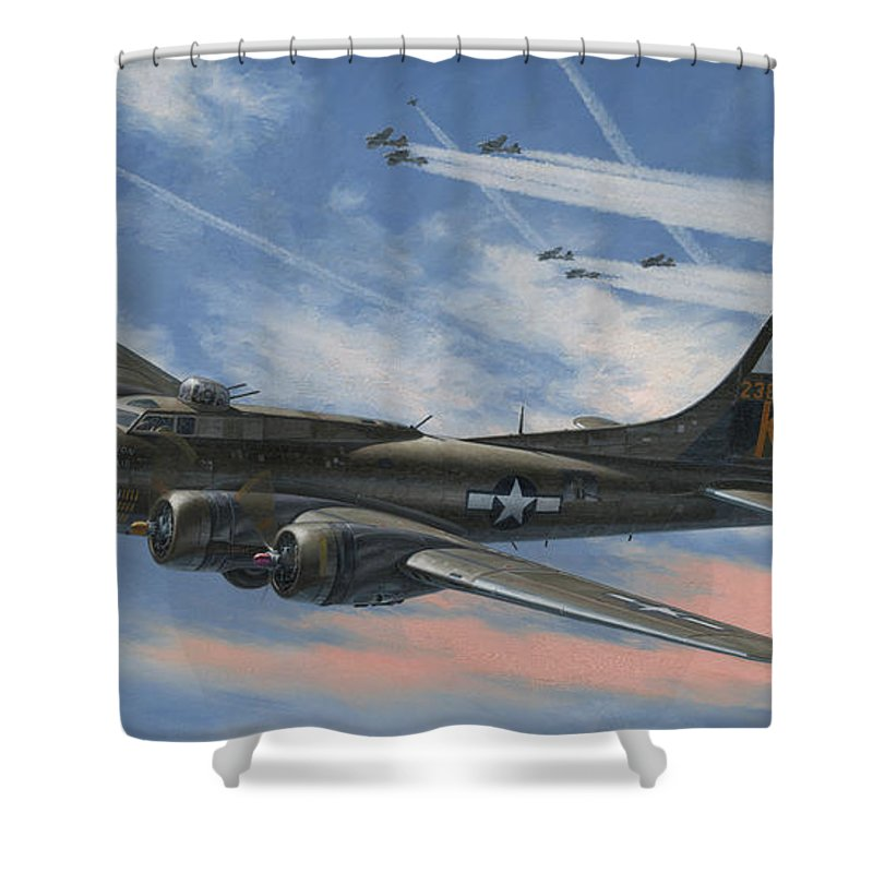 Boeing Shower Curtain featuring the painting Never Turned Back by Wade Meyers