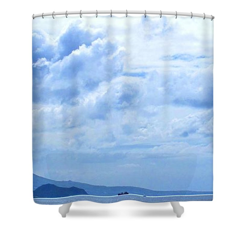 Nevis Shower Curtain featuring the photograph Nevis From The Roof Top by Ian MacDonald