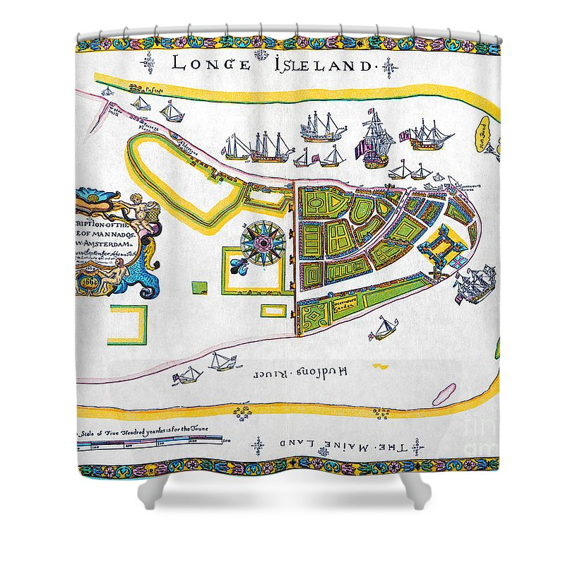 1661 Shower Curtain featuring the photograph New Amsterdam Map, 1661 by Granger
