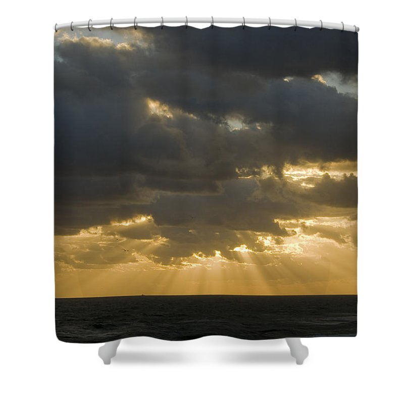 Ocean Sunset Sun Cloud Clouds Ray Rays Beam Beams Bright Wave Waves Water Sea Beach Golden Nature Shower Curtain featuring the photograph New Beginning by Andrei Shliakhau