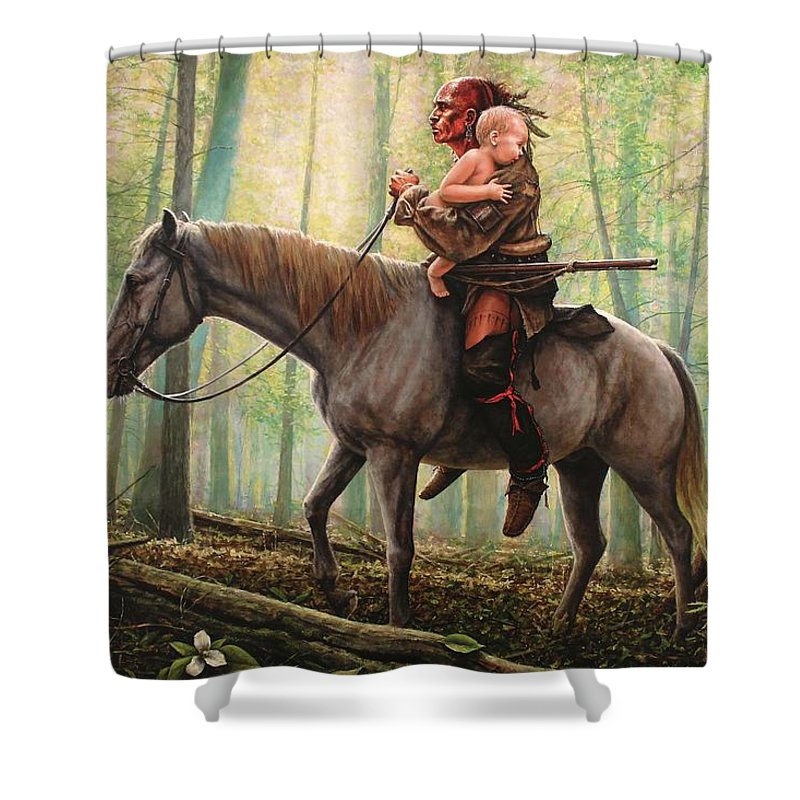 America Shower Curtain featuring the painting New Beginnings by Dan Nance