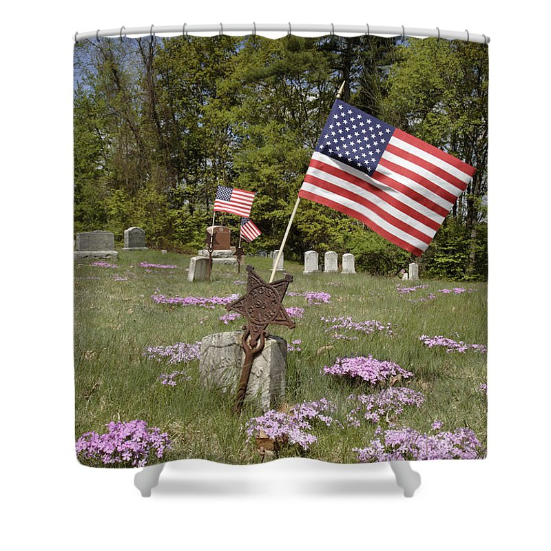 Veteran Shower Curtain featuring the photograph New England Graveyard by Erin Paul Donovan