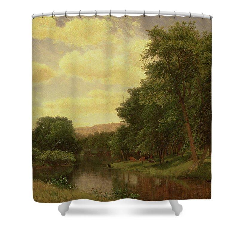 New England Landscape (oil On Canvas)probably From The Farmington River Shower Curtain featuring the painting New England Landscape by Aaron Draper Shattuck
