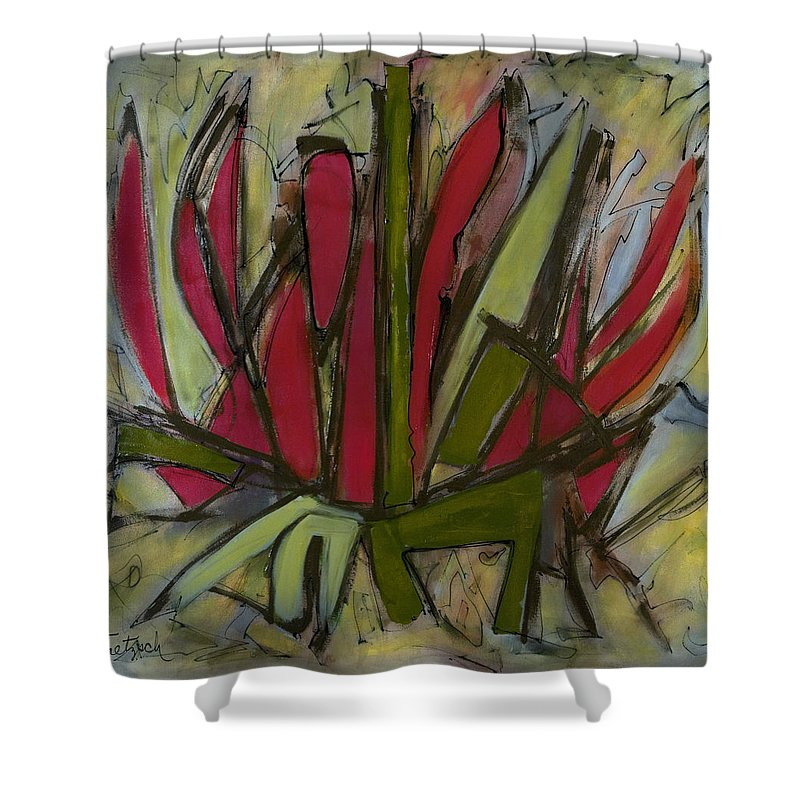 Abstract Shower Curtain featuring the painting New Growth by Lynne Taetzsch