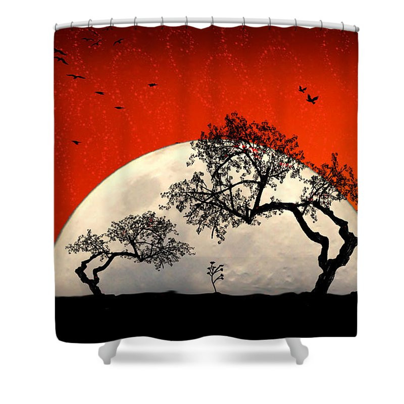 Moon Shower Curtain featuring the digital art New Growth New Hope by Holly Kempe