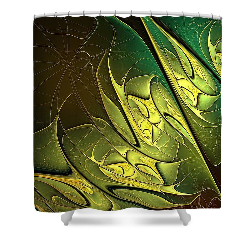 Digital Art Shower Curtain featuring the digital art New Leaves by Amanda Moore