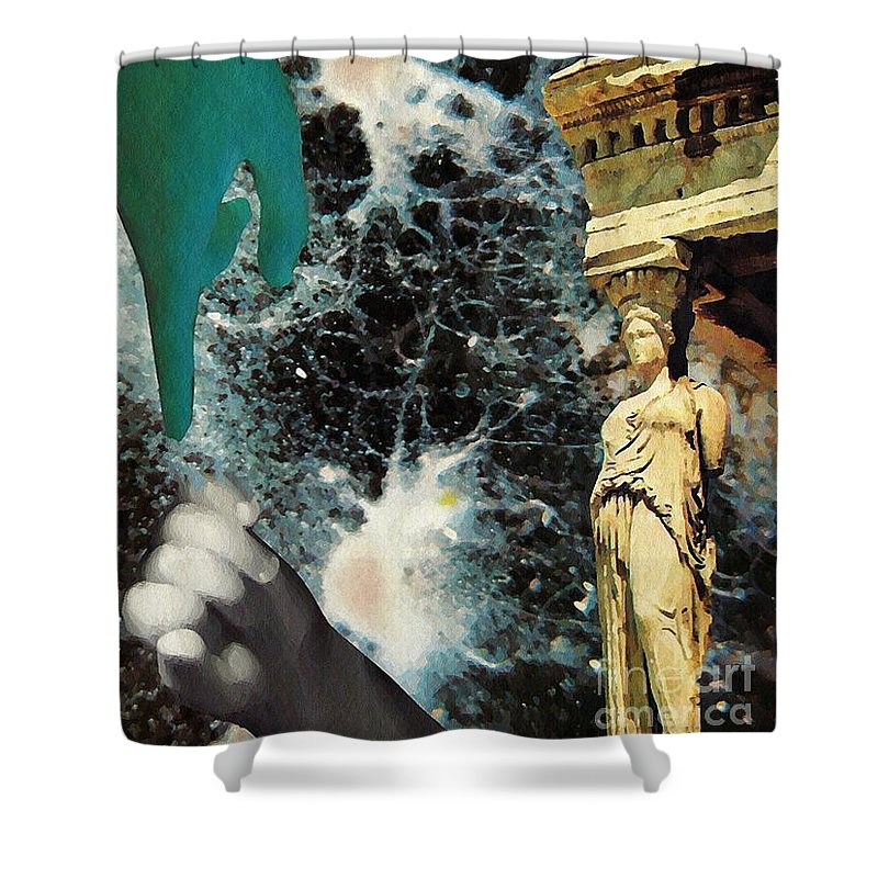 Space Shower Curtain featuring the mixed media New Life In Ancient Time-space by Sarah Loft
