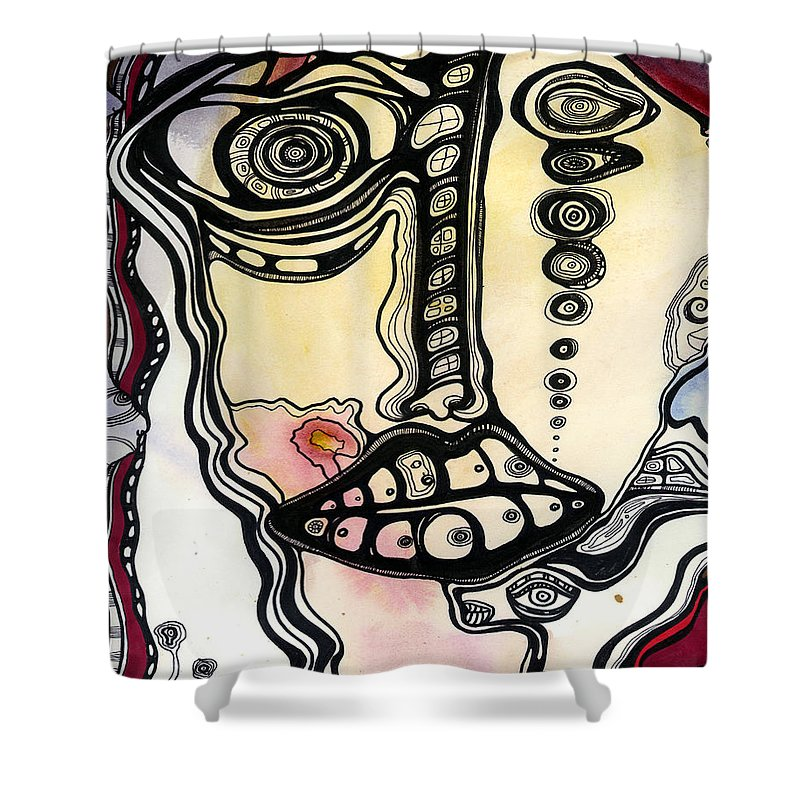Surreal Shower Curtain featuring the painting New Man by Cristine Cambrea