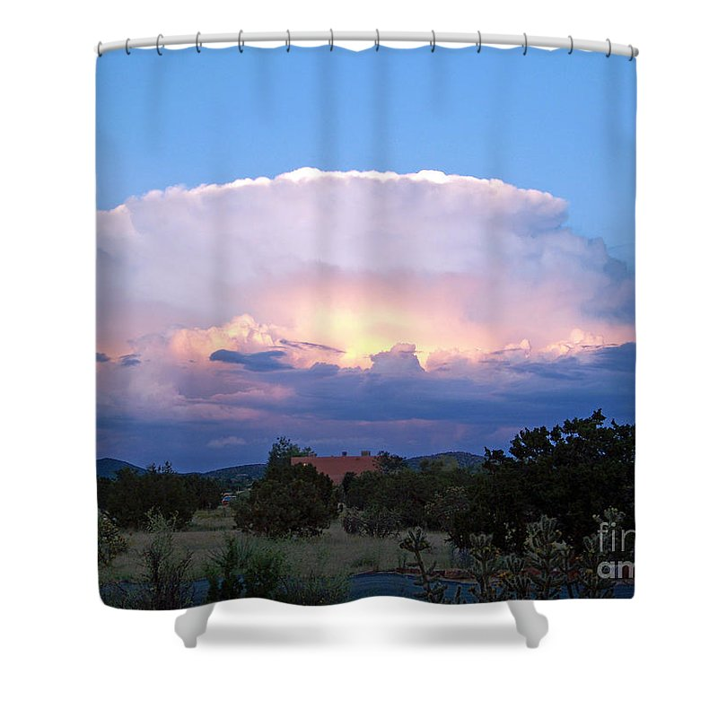 Sky Shower Curtain featuring the photograph New Mexico - The Bomb by Brian Commerford
