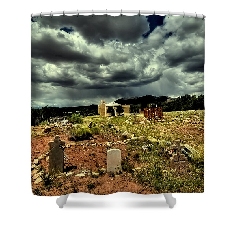 New Mexico Graveyard Shower Curtain featuring the photograph New Mexico Graveyard by David Patterson