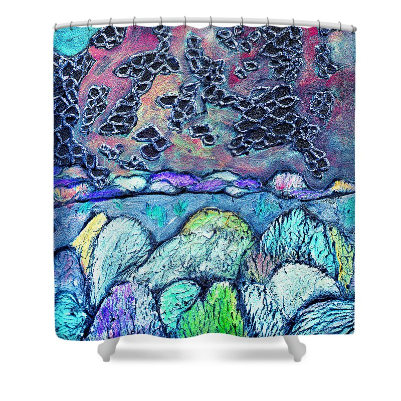 Landscape Shower Curtain featuring the painting New Mexico Landscape by Wayne Potrafka