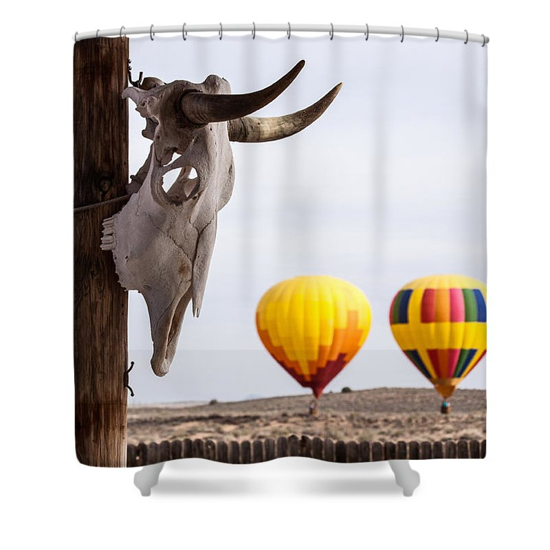 Cow Skull Shower Curtain featuring the photograph New Mexico Morning by Dorothy Harris