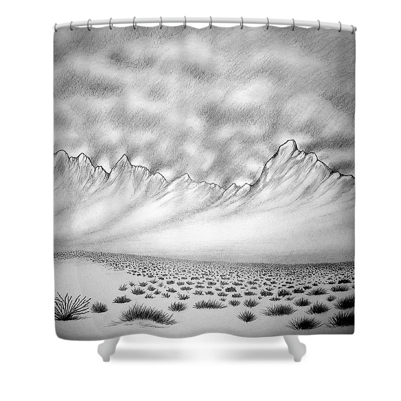 Shower Curtain featuring the drawing New Mexico passage by Marco Morales