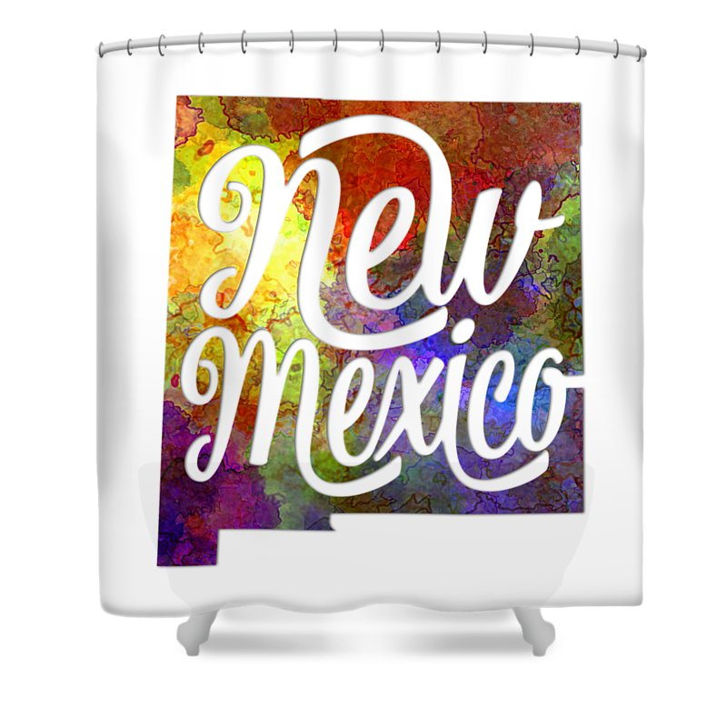 New Mexico; New Mexico State; Usa; Usa State; United States; Abstract; Art; Background; Border; Bright; Cartography; Colorful; Creativity; Grunge; Illustration; Map; Painted; Painting; Poster; Shape; Splash; Splatters; Symbol; Texture; Warm; Watercolor Shower Curtain featuring the painting New Mexico Us State In Watercolor Text Cut Out by Pablo Romero