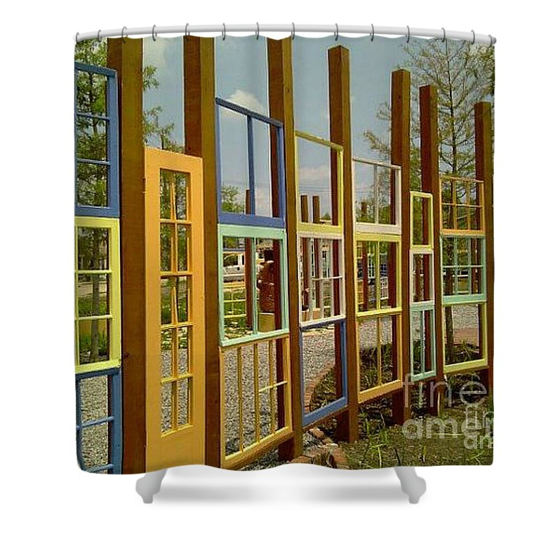 Nola Shower Curtain featuring the photograph New Orleans Closed Door And A Window Of Many Views by Michael Hoard