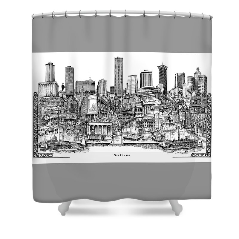 City Drawing Shower Curtain featuring the drawing New Orleans by Dennis Bivens