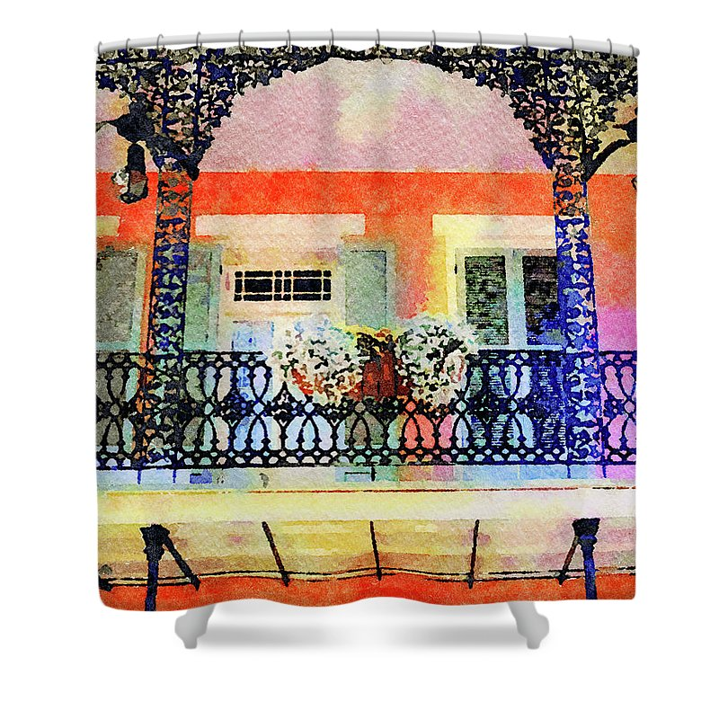 New Orleans Shower Curtain featuring the digital art New Orleans French Quarter Balcony by Rebecca Korpita