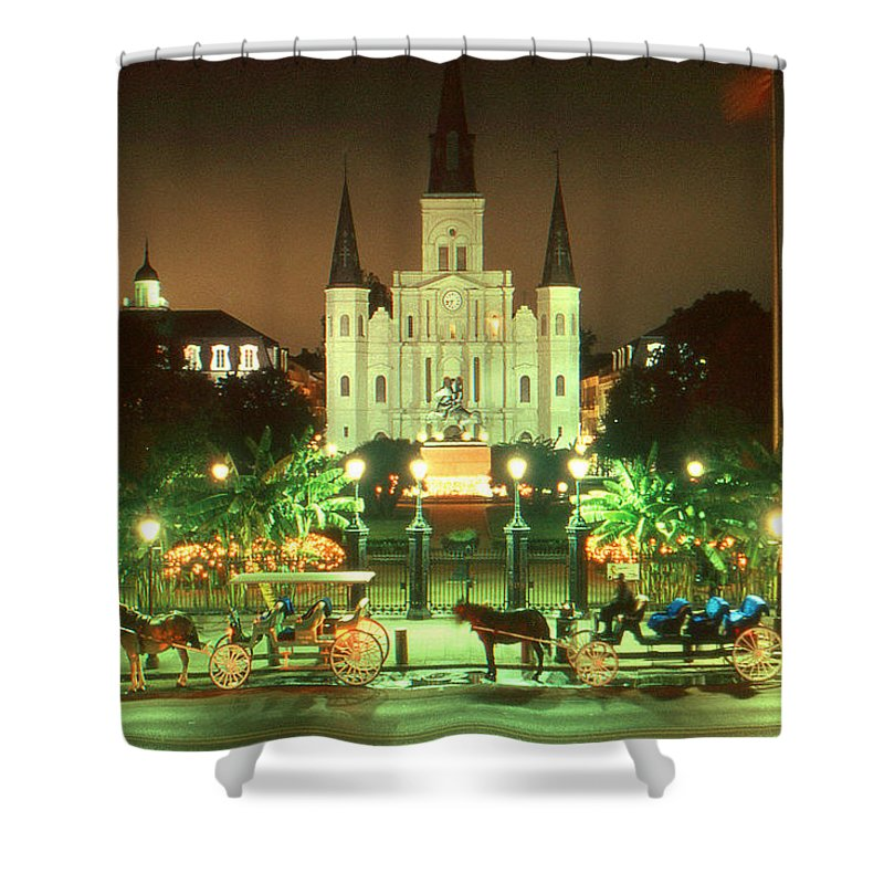 New+orleans Shower Curtain featuring the photograph New Orleans Night Photo - Saint Louis Cathedral by Peter Potter