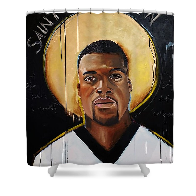 Benjamin Watson Shower Curtain featuring the painting New Orleans Saint by Crimson Shults