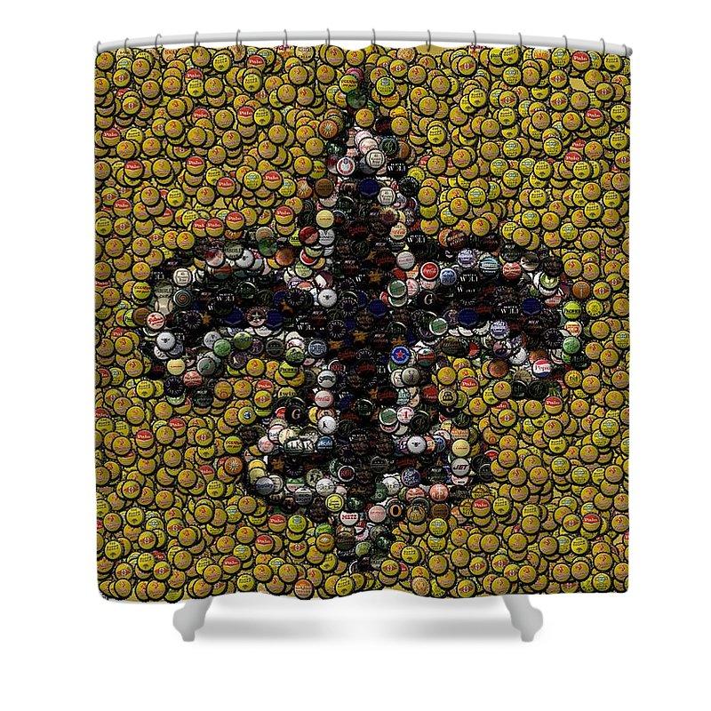 No Shower Curtain Featuring The Digital Art New Orleans Saints Bottle Cap Mosaic By Paul Van
