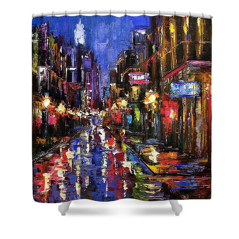 Cityscape Shower Curtain featuring the painting New Orleans Storm by Debra Hurd