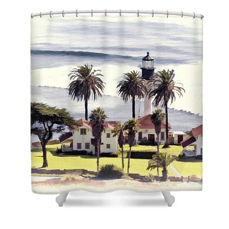 San Diego Shower Curtain featuring the photograph New Point Loma Lighthouse by Claude LeTien