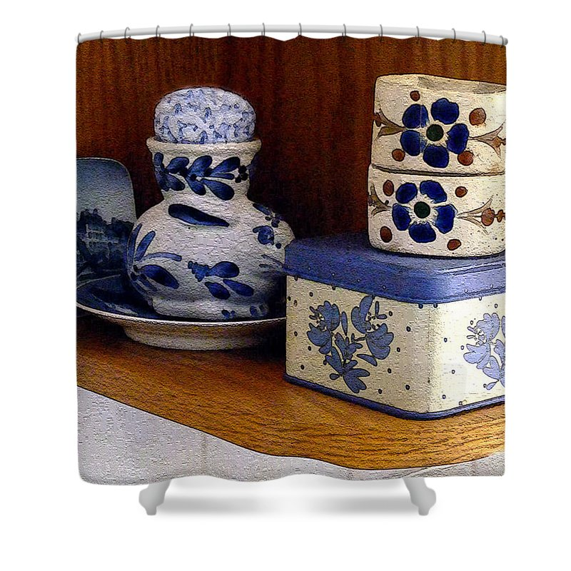 Box Shower Curtain featuring the digital art New Shelf Old Memories by RC DeWinter