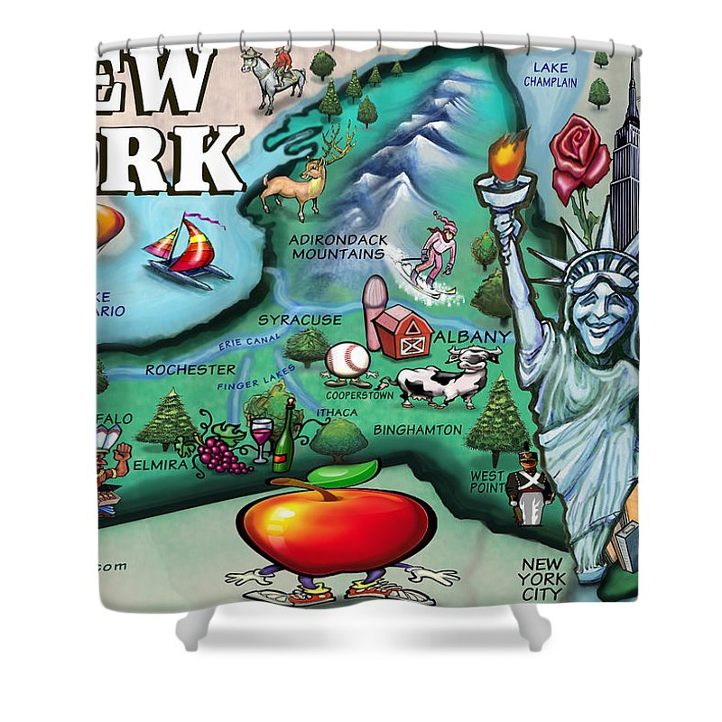 New York Shower Curtain featuring the digital art New York Cartoon Map by Kevin Middleton
