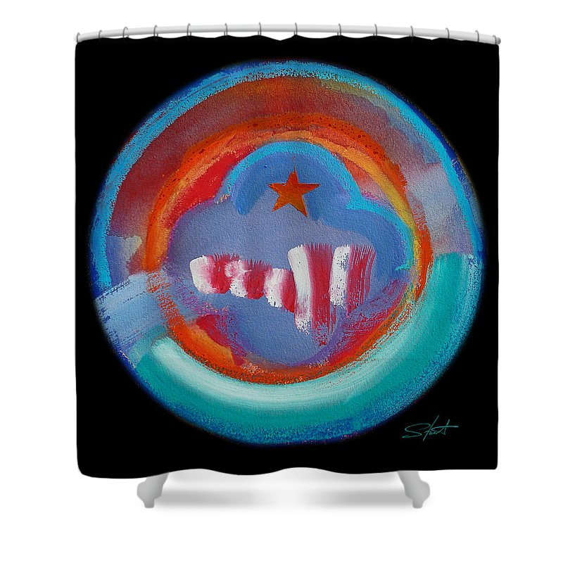 Manhattan Shower Curtain featuring the painting New York by Charles Stuart