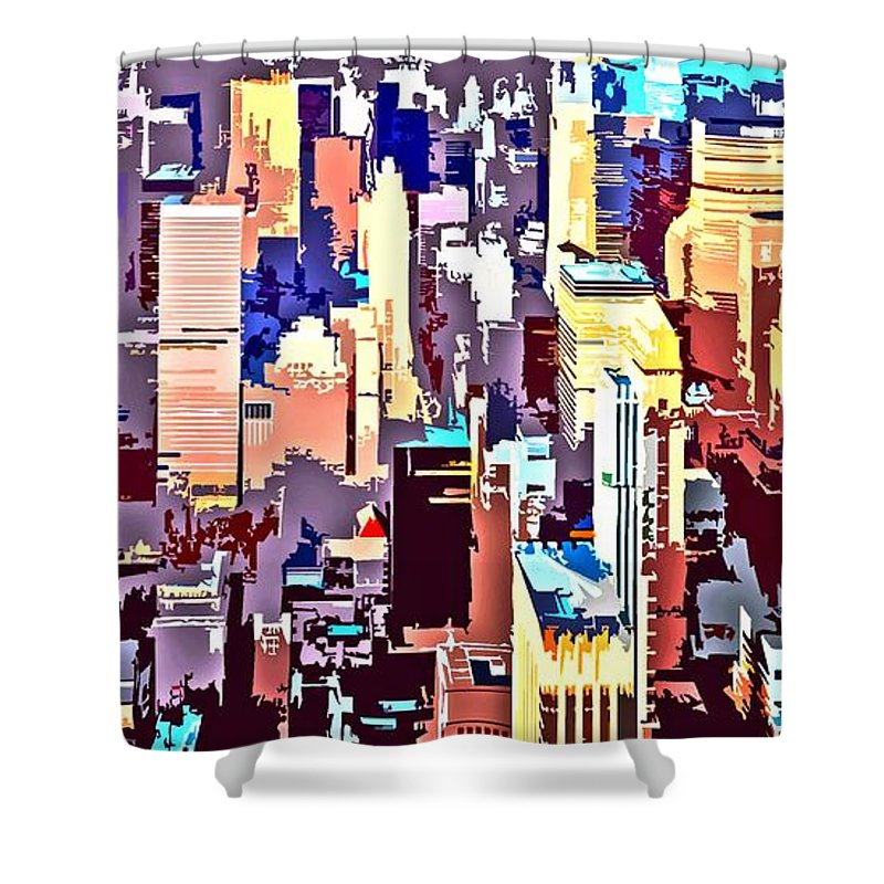 New York City Shower Curtain featuring the digital art New York City Abstract by Linda Mears