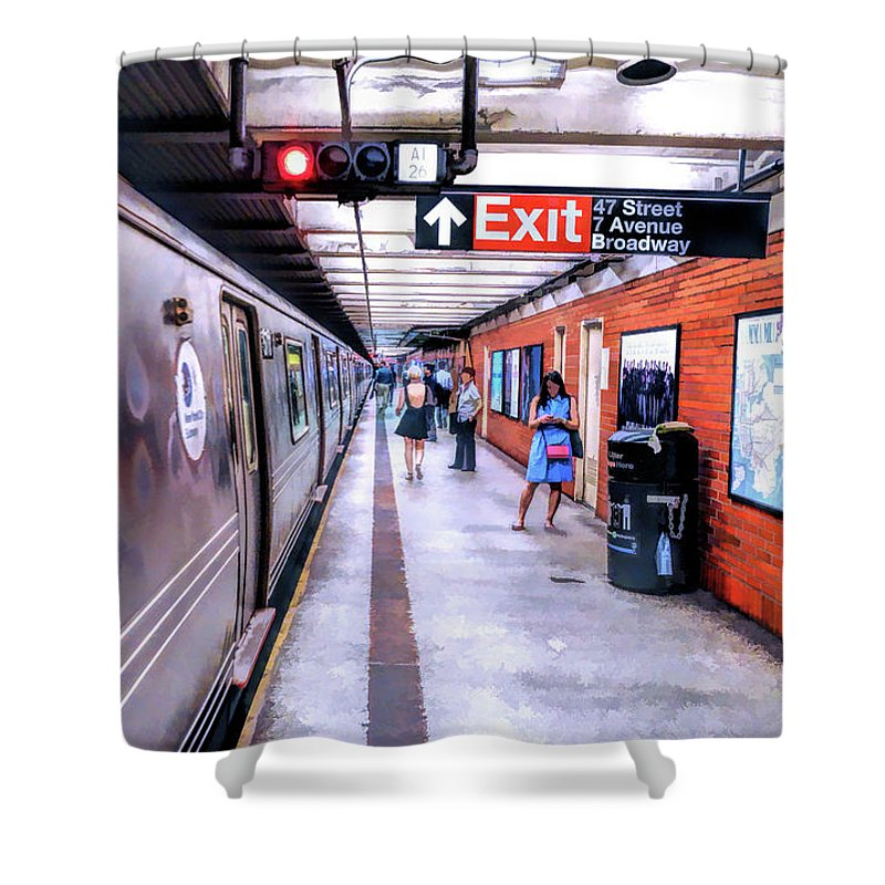 New York Shower Curtain featuring the painting New York City Broadway Subway Station by Christopher Arndt