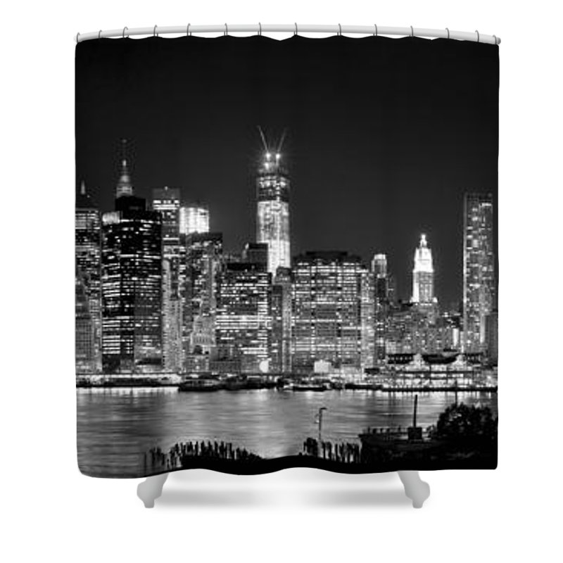 New York City Skyline At Night Shower Curtain Featuring The Photograph Bw Tribute