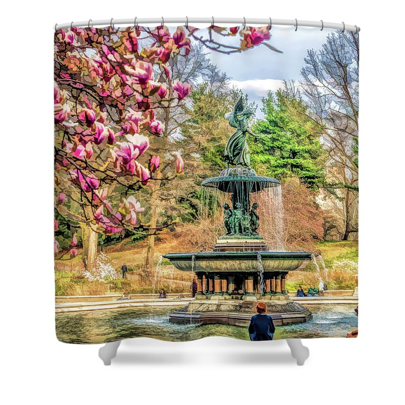New York Shower Curtain featuring the painting New York City Central Park Bethesda Fountain Blossoms by Christopher Arndt