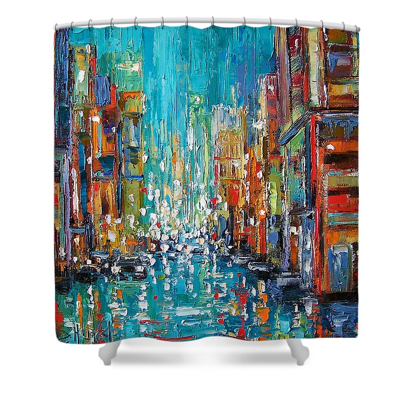 City Art Shower Curtain featuring the painting New York City by Debra Hurd