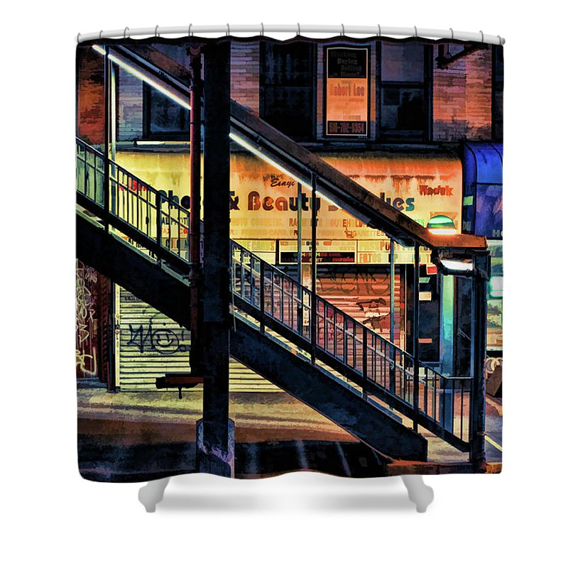 New York Shower Curtain featuring the painting New York City Elevated Subway Stairs by Christopher Arndt