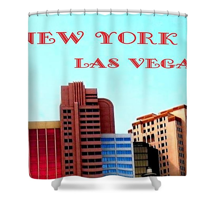 Poster Shower Curtain featuring the digital art New York City- Las Vegas by Will Borden