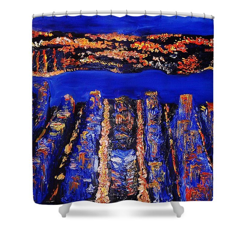 Abstract Shower Curtain featuring the painting New York City by Lauren Luna