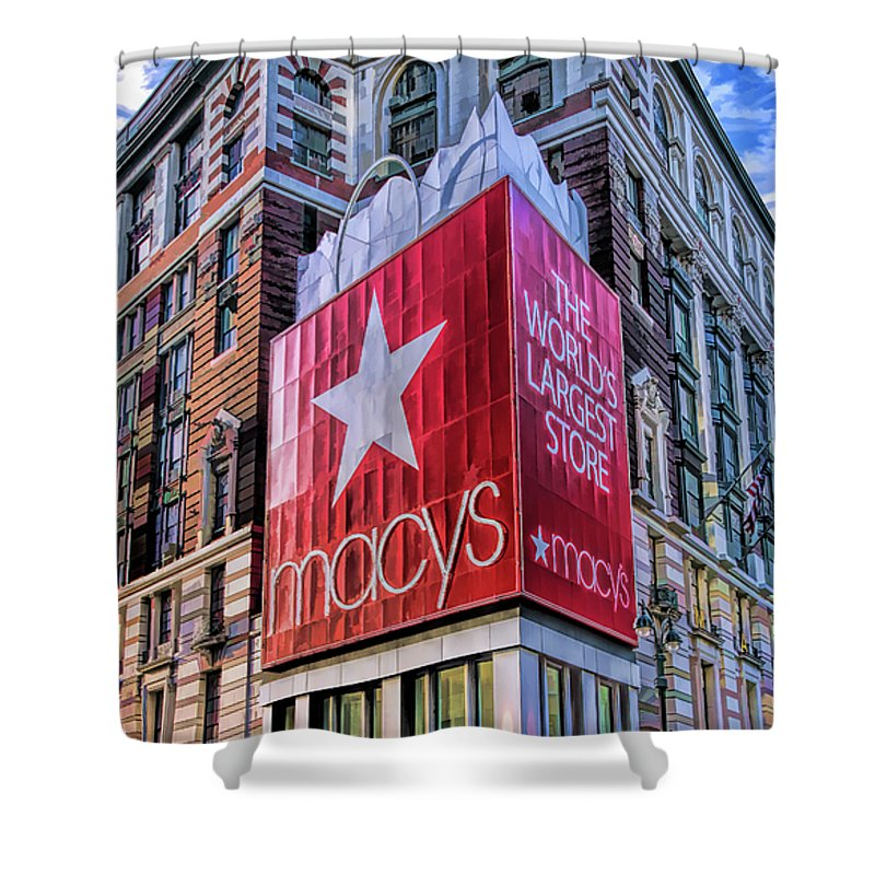 New York Shower Curtain featuring the painting New York City Macy's Herald Square Store by Christopher Arndt