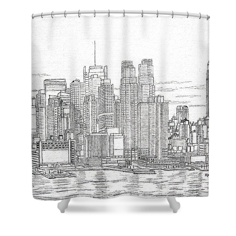 New York City Skyline Shower Curtain Featuring The Drawing