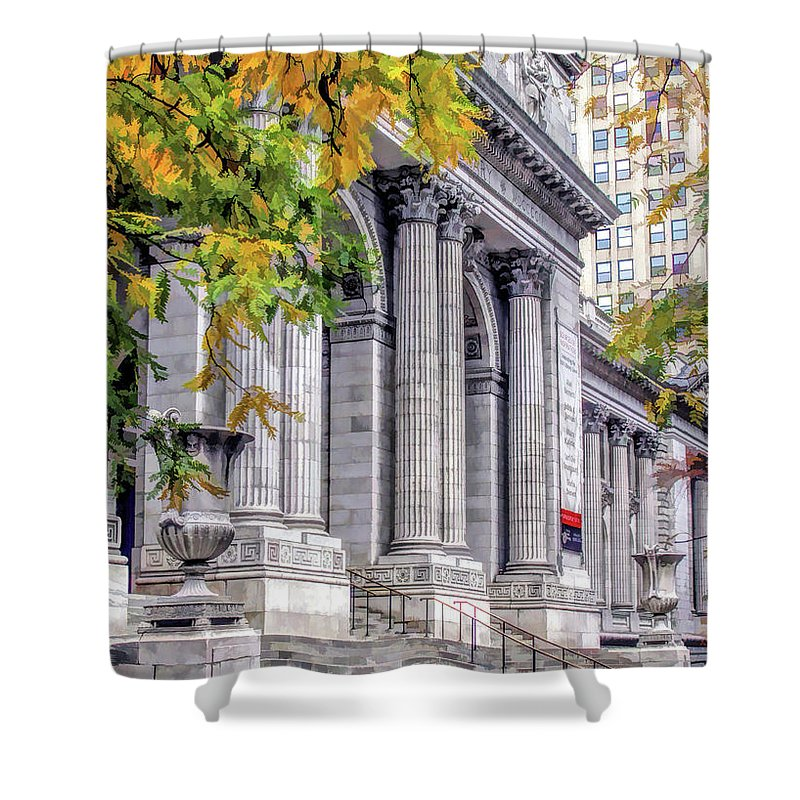 New York Shower Curtain featuring the painting New York City Public Library by Christopher Arndt