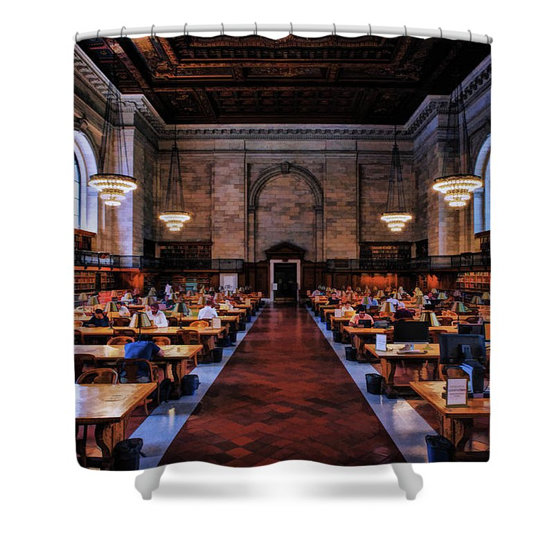 New York Shower Curtain featuring the painting New York City Public Library Rose Reading Room by Christopher Arndt