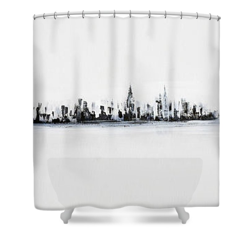 Skyline Shower Curtain Featuring The Painting New York City Black And White By Jack Diamond