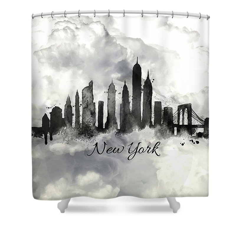 New York City Skyline In The Black And White Shower Curtain For Sale By Lilia D