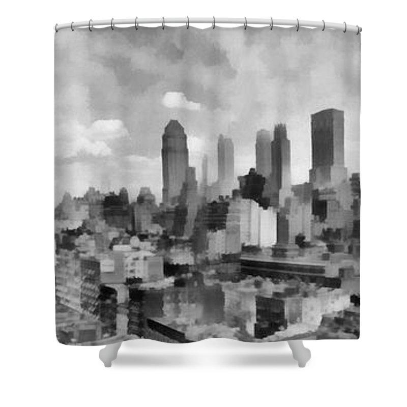 New York City Skyline Monochromatic Shower Curtain For Sale By Edward Fielding