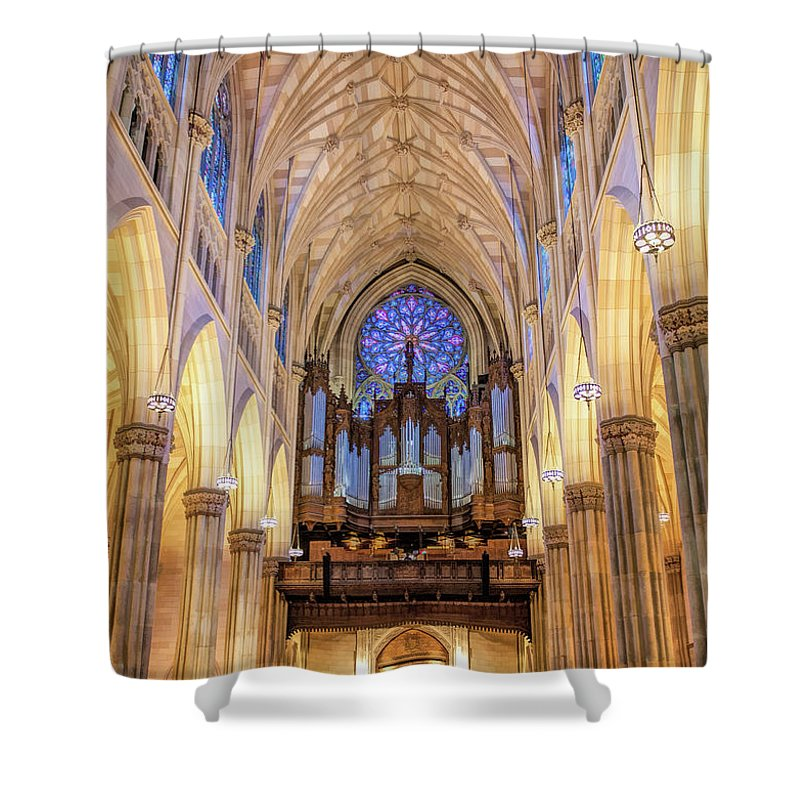 New York Shower Curtain featuring the painting New York City St Patrick's Cathedral Organ by Christopher Arndt