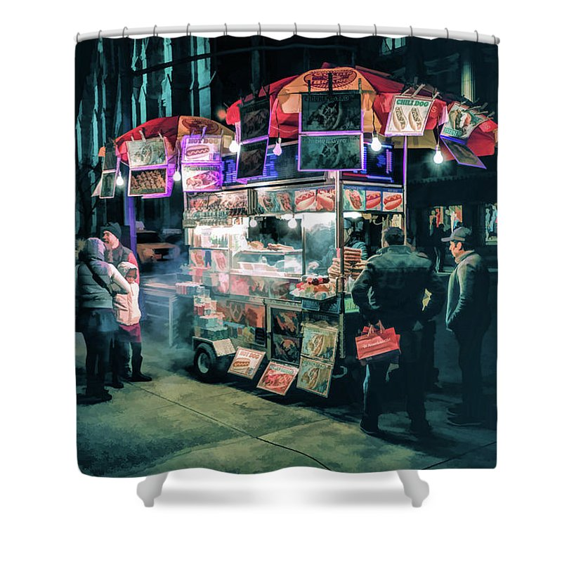 New York Shower Curtain featuring the painting New York City Street Vendor by Christopher Arndt