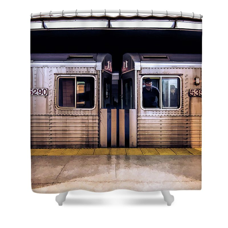 New York Shower Curtain featuring the painting New York City Subway Cars by Christopher Arndt