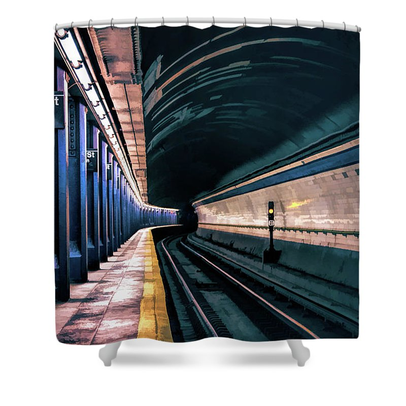 New York Shower Curtain featuring the painting New York City Subway Station by Christopher Arndt