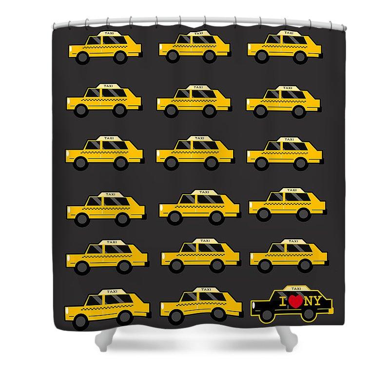 New York Taxi Digital Art Shower Curtains