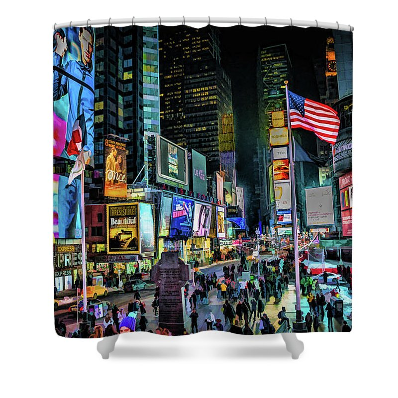 New York Shower Curtain featuring the painting New York City Times Square by Christopher Arndt